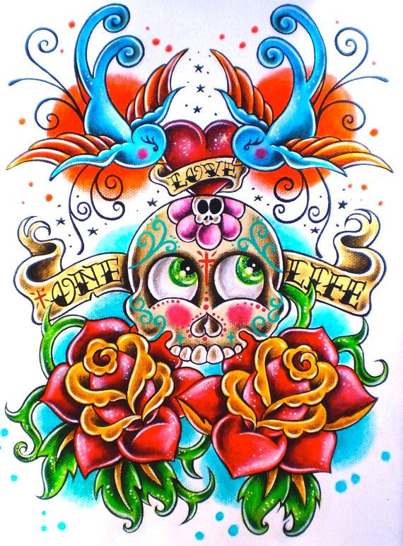 Print of my sugar skull painting day of the dead by by HawenHollow