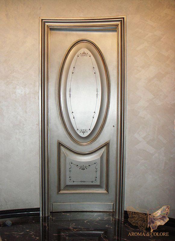 Роспись двери с серебрением / Студия Аромат цвета - Художественная роспись стен и потолков. Цены в Москве. 12 лет опыта, более 600 работ в портфолио.