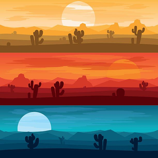 Desert Mountains Banners Desert Landscape Days And Desert At Night Desert Landscape Art Landscape Illustration Desert Painting