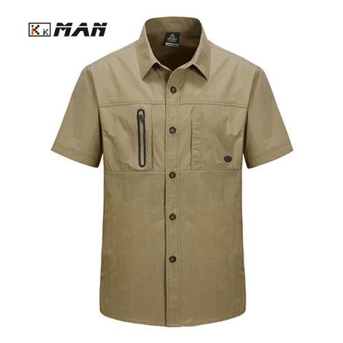 Men Casual Shirts Breathable Loose Cotton Absorb Sweat Army Military Summer Short Sleeve Dress Shirt
