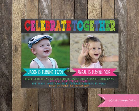 PRINTABLE Chalkboard Birthday Invitation with Picture Joint Birthday Invitation sibling friend twins Girls Boys Birthday Party 4x6 or 5x7