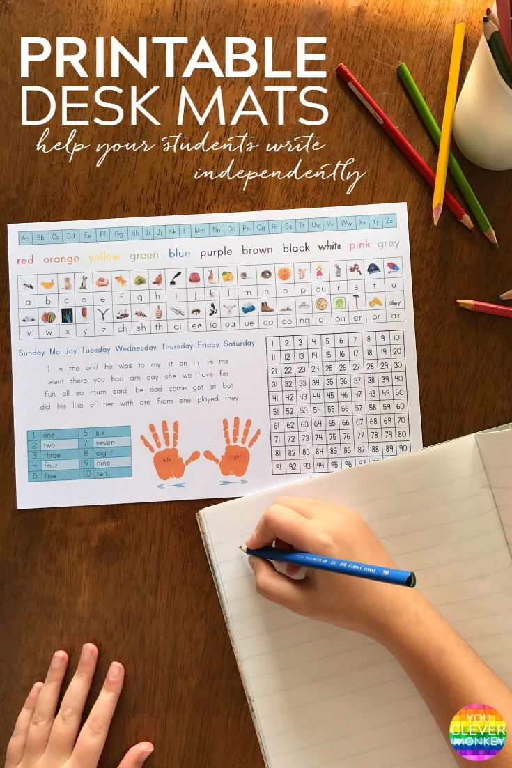 How to Help Your Students to Write Independently - use our printable student helper desk mats to encourage early independent writing, print out these desk mats with photo images to support initial sounds/digraphs knowledge for your Early Years setting | you clever monkey