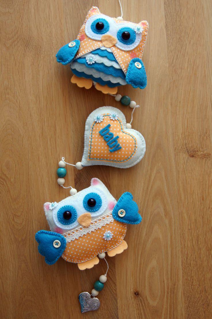 Handmade by Joho - uilen van vilt kraamcadeau - felt owl - feltro