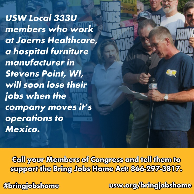 #JOBSECURITY #TRADE: REPIN this story and call your Members of Congress (866-297-3817) asking them to support American workers like the ones in Steven's Point, WI usw.org/bringjobshome.
