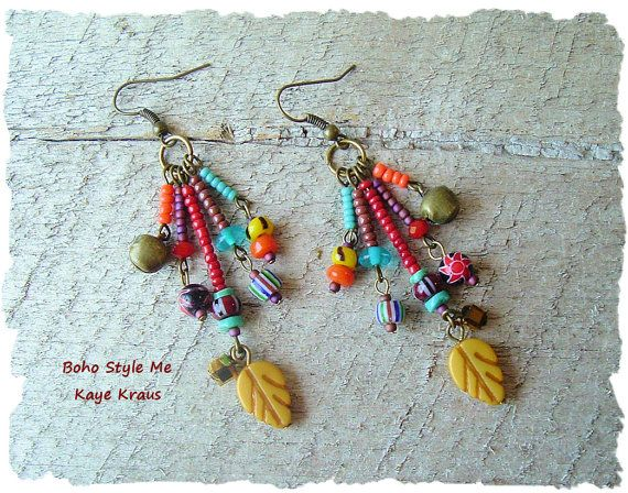 Tribal Earrings, Colorful Bohemian Earrings, Tribal Dangle Earrings, Hippie Gypsy Earrings, BohoStyleMe, Kaye Kraus