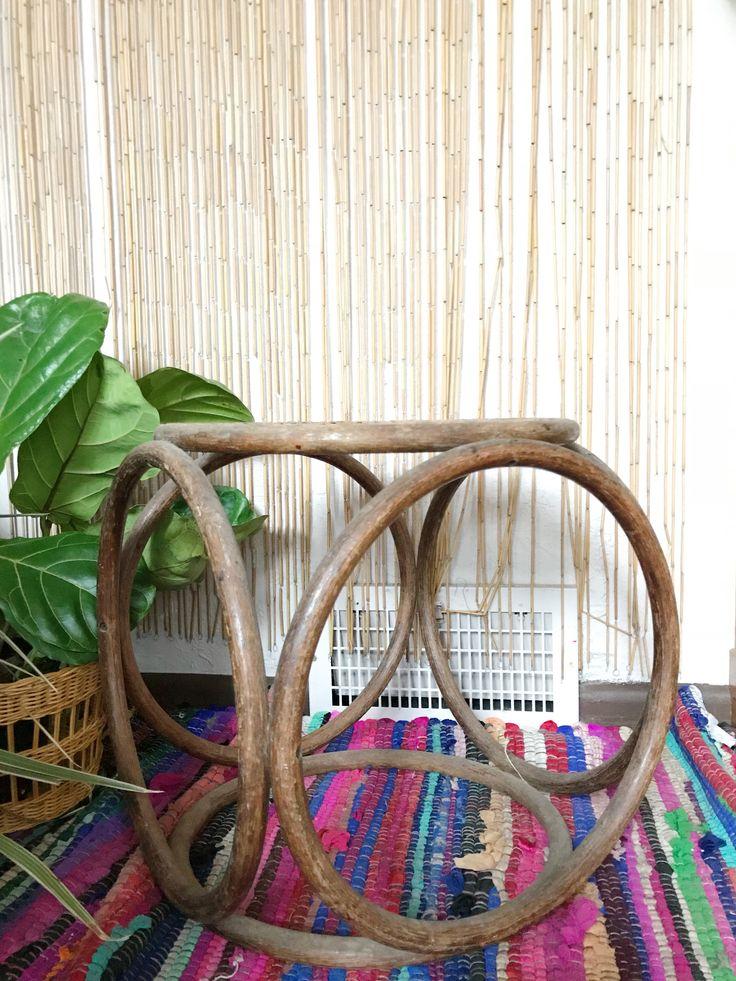 Vintage woven rattan stool, bohemian plant shelf, wicker ottoman furniture by DodoLadies on Etsy https://www.etsy.com/listing/581673349/vintage-woven-rattan-stool-bohemian