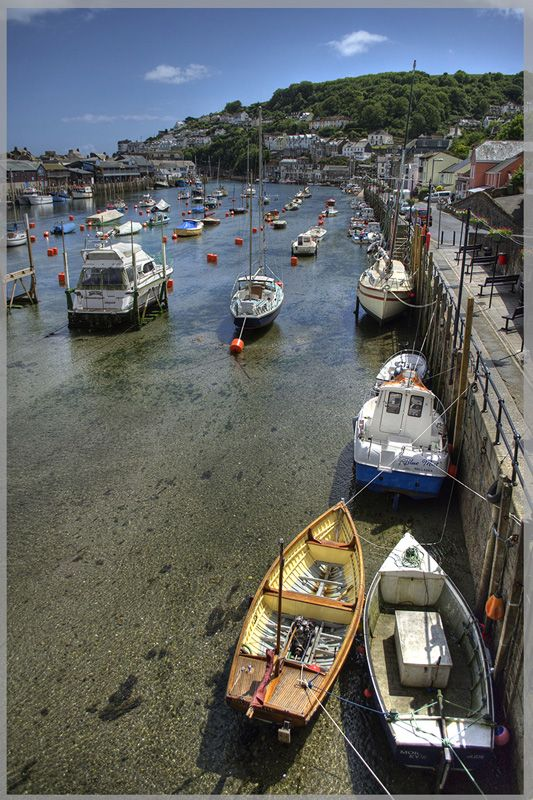 Looe, England at low tide