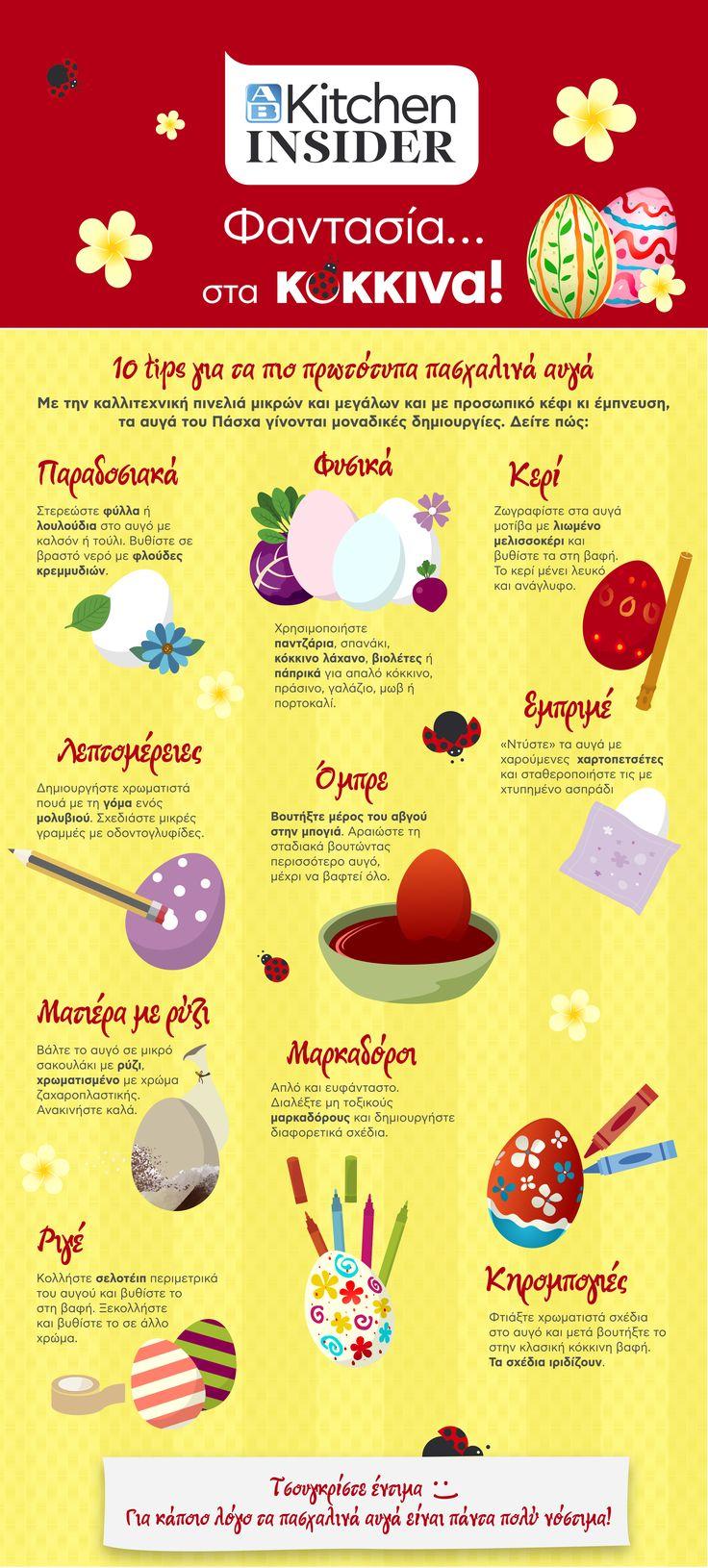 Με κέφι, έμπνευση και την καλλιτεχνική πινελιά μικρών και μεγάλων, τα αυγά του Πάσχα γίνονται μοναδικές δημιουργίες. To ΑΒ kitchen Insider σας προτείνει 10 tips για τα πιο πρωτότυπα πασχαλινά αυγά.  Ανακάλυψέ τα → http://www.ab.gr/proposes/ab-kitchen-insider