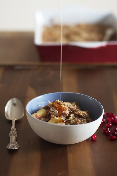 Apple Crisp with Maple Syrup and Pomegranate
