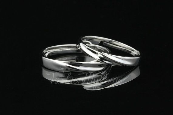 Free Engraving Sterling Silver Ring Couple Rings by FashionMyHome