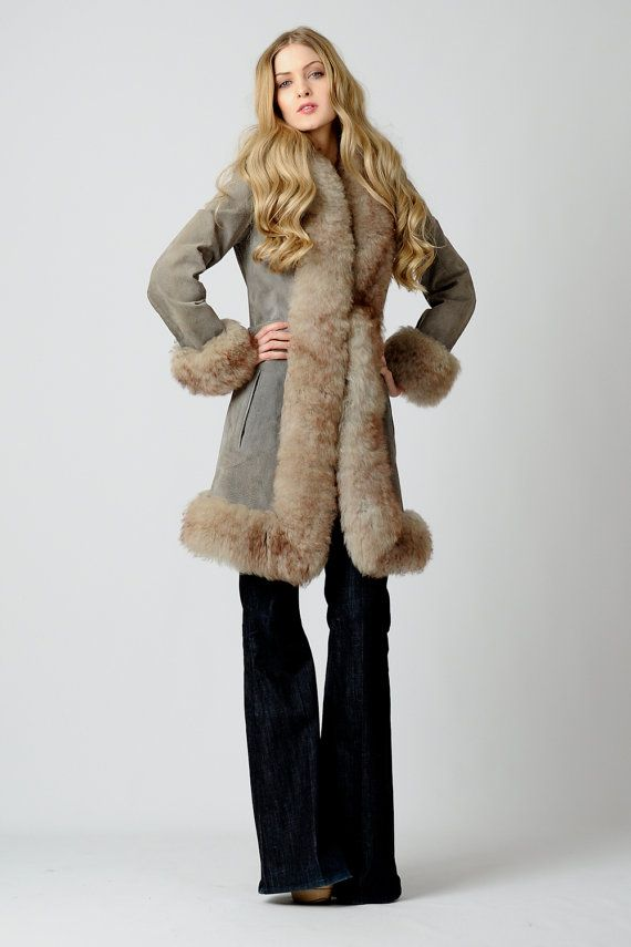 vintage 70s SHEARLING FUR grey Boho Coat XS S by TinRoofVintage