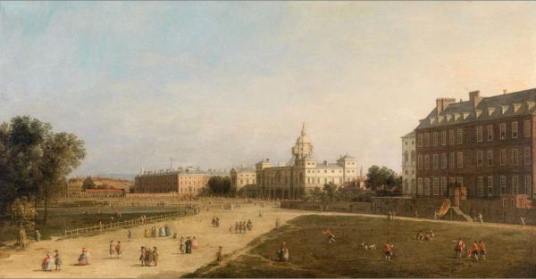Giovanni Antonio Canal, il Canaletto (Venice 1697-1768), London: New Horse Guards from St James's Park, oil on panel, 58.5 x 110 cm