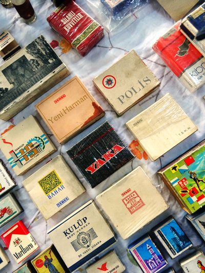 Old cigarette boxes at Bomonti Flea Market in Istanbul. Photo ©Aybige Mert