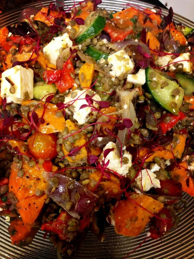 @roastkitchen1  Today's salad braised lentil feta fire roasted red pepper chilli red onion and a sprinkling of cheffiness!!!
