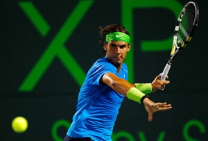 Rafael Nadal of Spain in action against Jo-Wilfried Tsonga of France during Day 10 of the Sony Ericcson Open at Crandon Park Tennis Center on March 28.