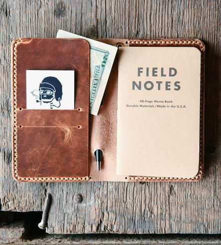 When travelin', one should always be prepared to jot down the most intriguing of notes, and this handsome leather travel wallet makes it all possible. It's carefully fashioned by hand from high-quality leather, with plenty o' room for 4 cards on the left, along with a boarding pass pocket and a notebook on the right.