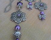 Ketting en oorbellen oud zilver lila parel bloem vlinder kralen set:  Necklace and earrings
