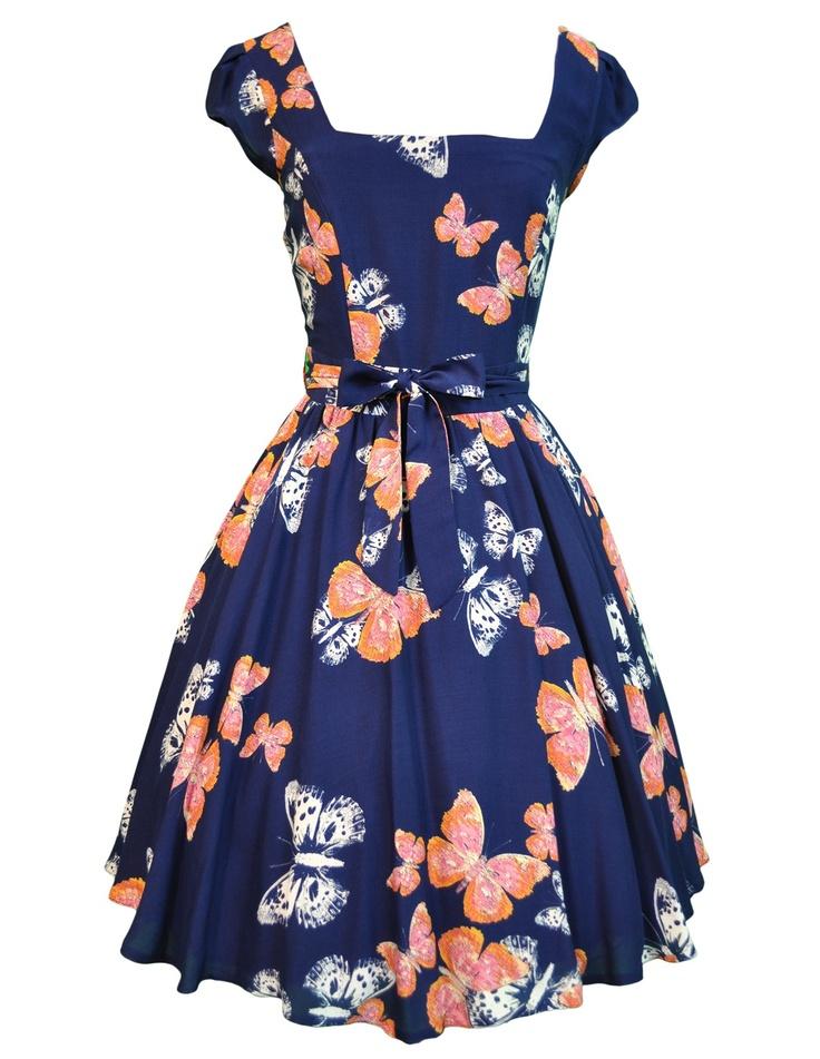 Lady V London Navy Butterfly Print Swing Dress
