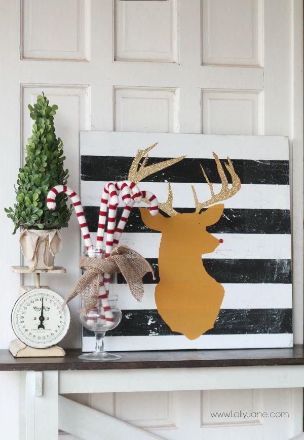 DIY: glitter antler reindeer head, cute Christmas decor idea! Fun reindeer art!