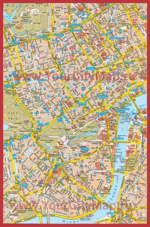 Карта Лондона с отелями