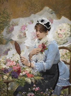 Victor-Gabriel Gilbert (French Academic Painter, 1847-1933) The Corsage