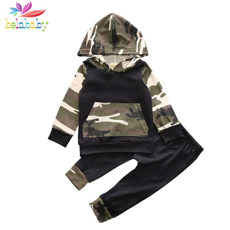 Belababy Autumn Spring Infant Clothes Baby Clothing Sets Baby Boys Camouflage Camo Hoodie Tops Long Pants 2Pcs Outfits Set