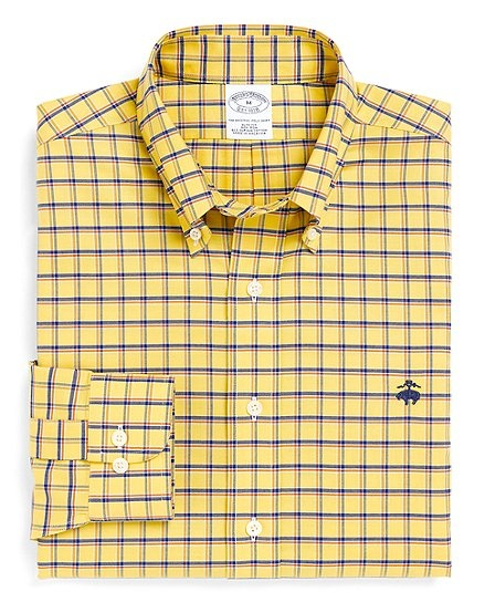 Non iron slim fit brookscool double windowpane sport for Brooks brothers custom shirt