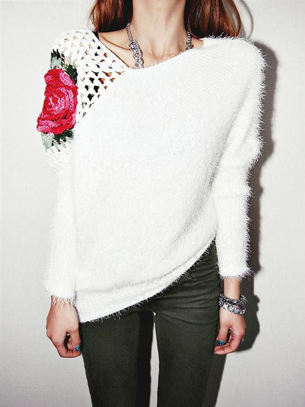 Get Women's Trendy White and Black O-Neck Floral Worsted Sweater from mycroyance.com At Rs. 2079 Only........  Material: Artificial Fur  Size Only One Size  Length ; 65CM Bust ; 104CM Sleeve Length ; 59CM Across Shoulder:45CM