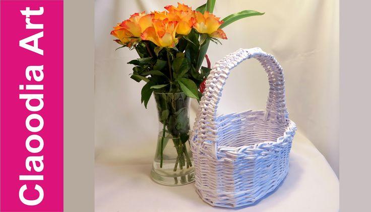 Owalny koszyk z rączką, papierowa wiklina (oval basket, wicker paper)