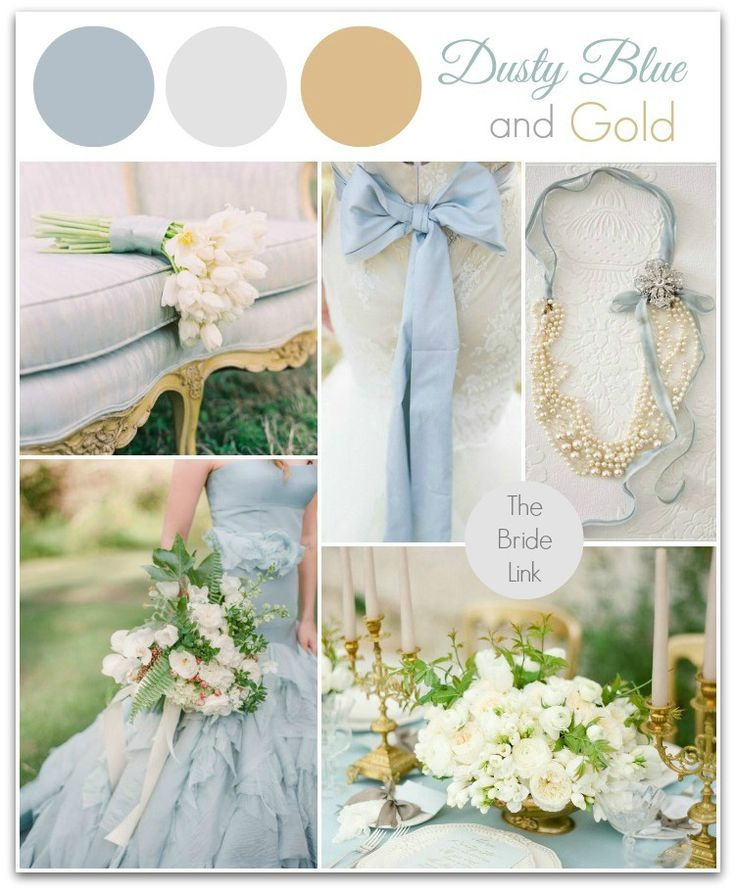 Dusty Blue and Gold Wedding Ideas I am head over heels for this color palette I've seen going viral in weddings lately! Dusty blue is quickly becoming one of my favorite wedding colors, and when it is paired with gold, it is simply irresistible. It is not only elegant but fresh, feminine and classic. Be inspired with the color board below with select photos from a few of my favorite wedding blogs!