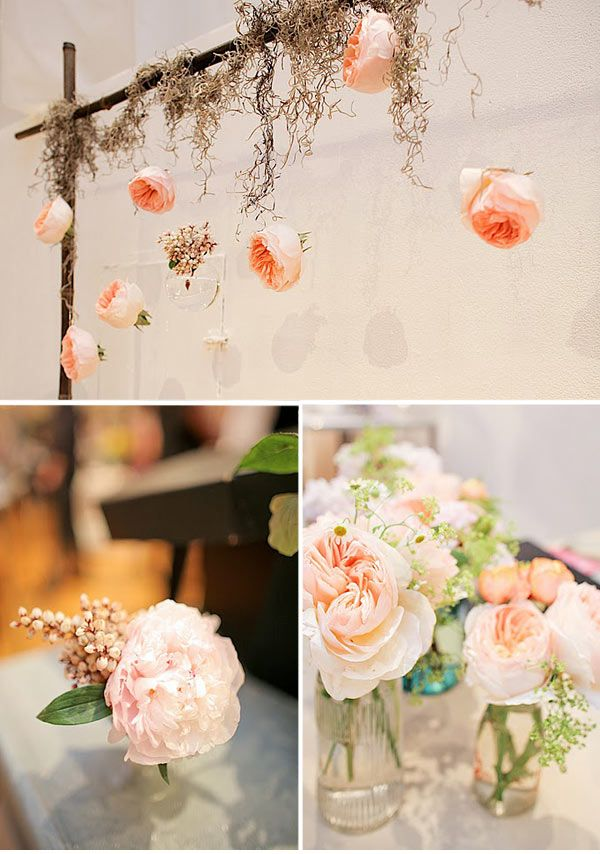 ;): Inspiration, Flowers Container, Wedding Ideas, Peaches Wedding, Hanging Flowers, Wedding Flowers, Gardens Rose, Flowers Deco, Hanging Gardens