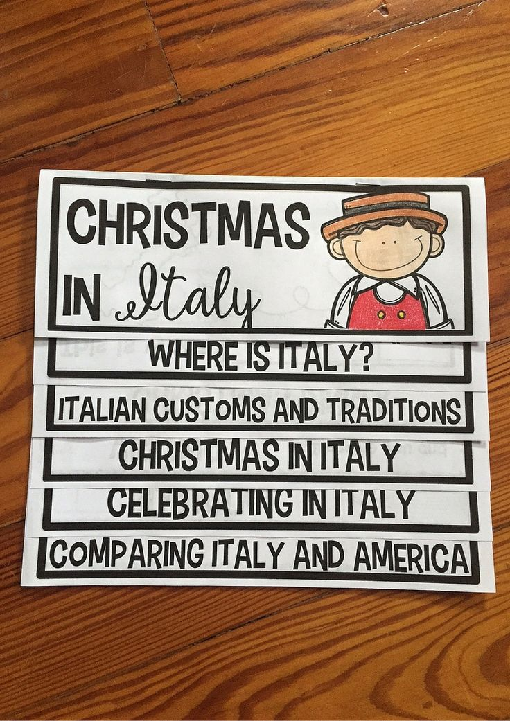 Christmas Around the World- Italy flip up book. Students LOVE using them and they cover everything you need from traditions, their flag, Christmas dinner, and much more!