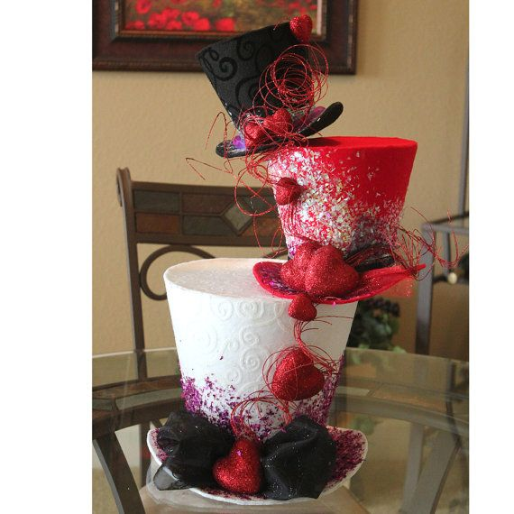 Valentines day teir valentine inch top hat table
