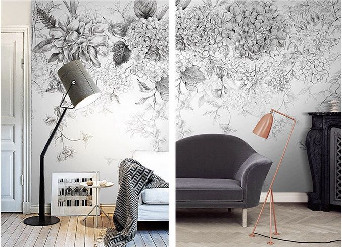 Sketch Flowers Wallpaper Black And White Poetry Floral Wall Decal Art  Bedroom Living Room Retro Vintage Wall Mural Home Decor Part 76