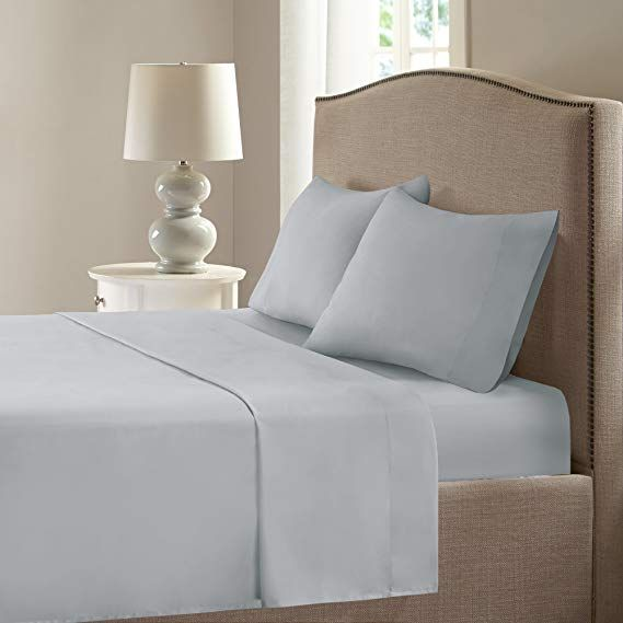 Comfort Spaces Microfiber Smart Cool Sheets Set Coolmax Fabric Blended For Moisture Wicking 4 Piece King Grey Incl Flat Sheet Fitted Best Bed Sheets