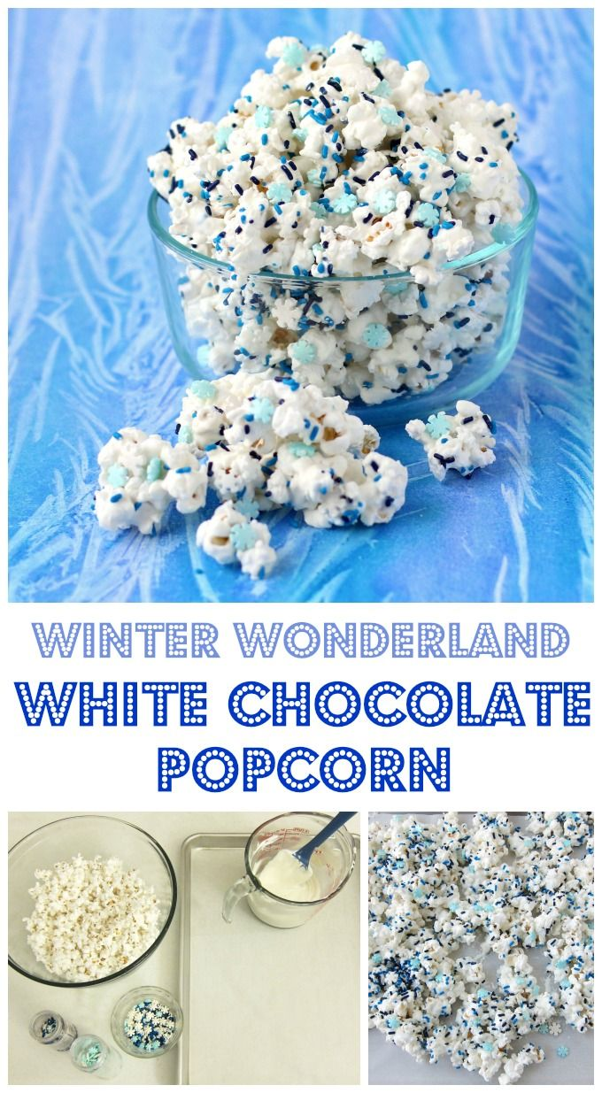 This Winter Wonderland White Chocolate Popcorn speckled with candy snowflakes and blue sprinkles would make a great treat for a Frozen party, a nice gift for Christmas, or a wintertime snack.