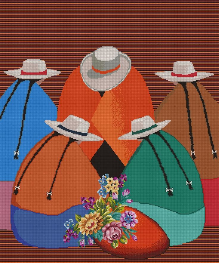 """PATRON PUNTO CRUZ.   (Foto del Bordado Virtual)   """"Las Floristas""""   Para bordar con Hilos DMC   290 Puntos de Ancho   350 Puntos de Alto."""