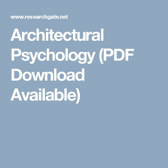 Architectural Psychology (PDF Download Available)