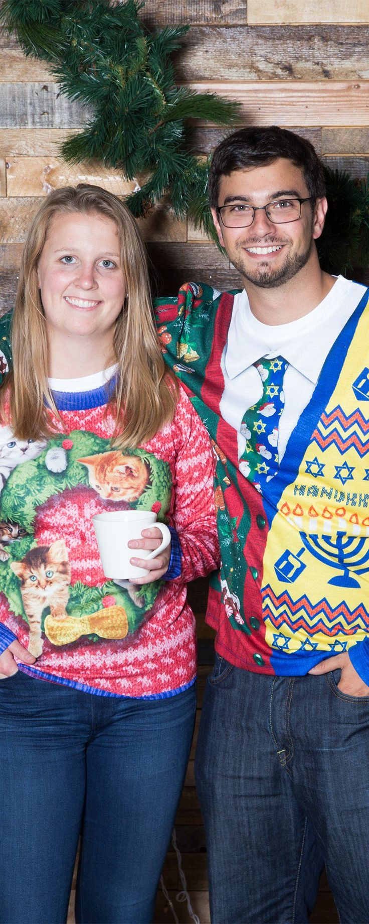 Festive, over-the-top holiday sweaters—with no itchiness or fuss. These photo-realistic, tacky designs are printed on comfy T-shirts.