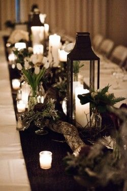 Really like this with the lanterns and pine cones...brown runner on white cloth, branches, jars of greenery