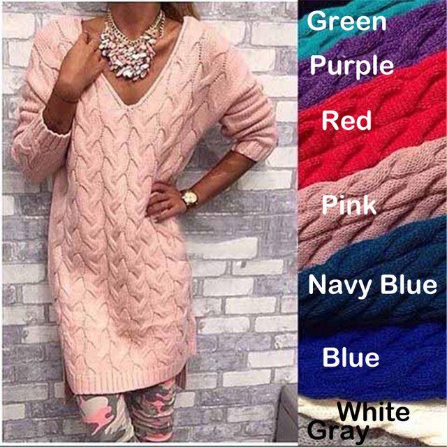 vrouwen trui herfst winter kleding van hoge quarlity mode v hals effen truien lange lengte twist toevallige gebreide trui jurk