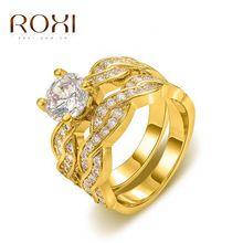 Бесконечность Кольца для Женщин Обручальное кольцо Обручальные Кольца Набор Желтое Золото с Гальваническим Покрытием AAA Кубический Цирконий Леди святого валентина Подарок(China (Mainland))