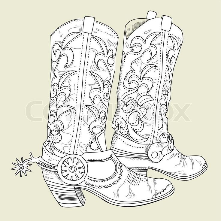 Gallery For gt Cowboy Boot With Spur Coloring Page