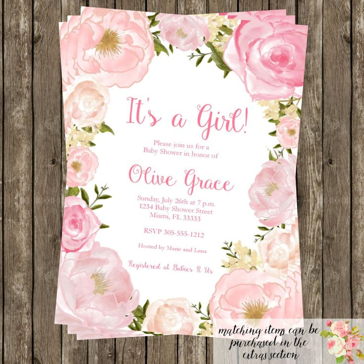 blank beach bridal shower invitations%0A Watercolor Floral Baby Shower Invitation Modern Birthday Bridal Shower  Party CHOOSE WORDING Watercolor Flowers Wreath Garden