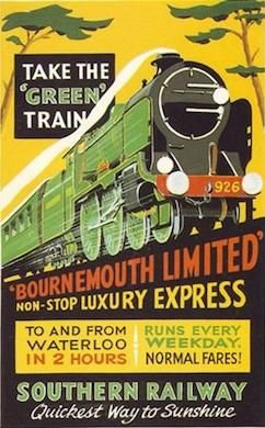 "JUL16 Bournemouth Limited 1930 The poster describes it as the ""Green"" train ..."