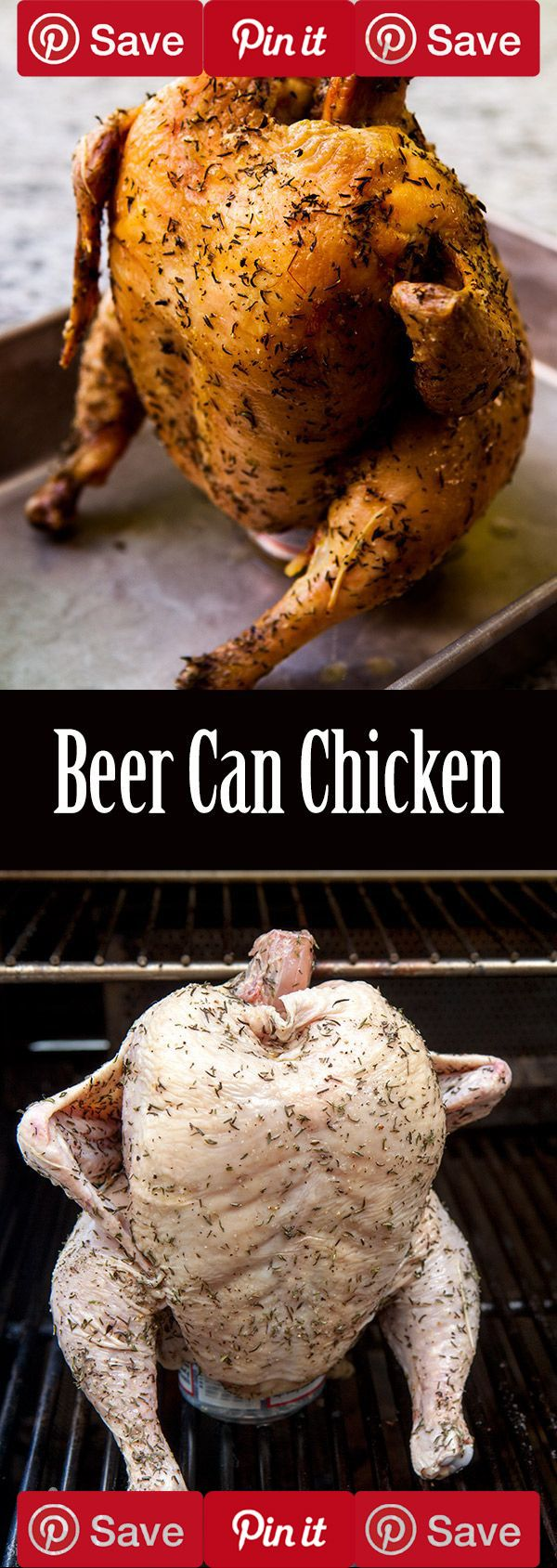 Beer Can Chicken ~ Tender, falling-off-the-bone, moist on the inside, crispy on the outside. That's what you get with beer can chicken (also known as beer butt chicken). ~ SimplyRecipes.com  #DIY