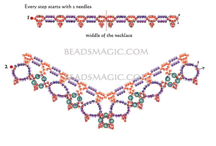 Free pattern for beautiful beaded necklace Margaret  U need: seed beads 11/0 pearl beads