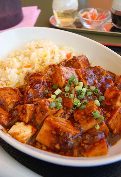 Ma-bo-Tofu with rice. Healthy Chinese restaurant,Seiren. Fujigaoka,Yokohama,Japan. kurosuke ishigaki