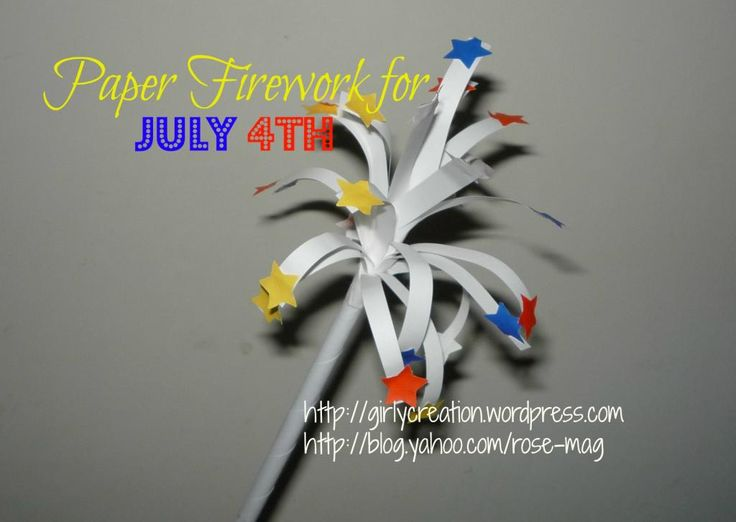 TBC Crafters 30 – Paper Firework for July 4th | Girly Creation, simple kids' crafts that parents can work with children, a very good party activity and decor.