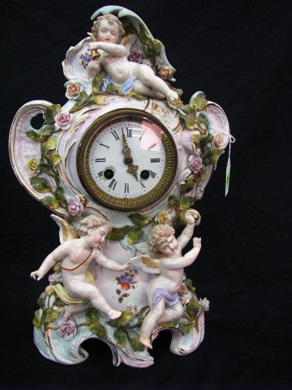 Dresden Porcelain Figural Mantle Clock
